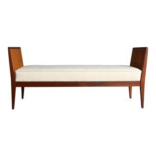 Mid-Century Modern Walnut & Cane Bench C. 1960 For Sale