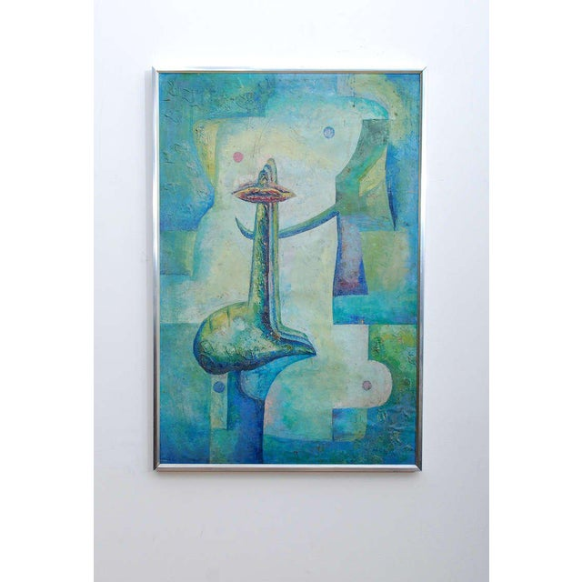 """For your consideration a vintage original abstract surrealist painting signed """"Drejel 73 (1973)"""" Beautiful composition,..."""