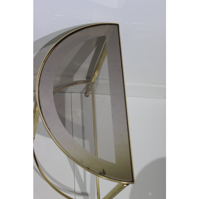 Mid-Century Modern Demi-Lune Drinks or Side Tables Brass and Smoked Glass - a Pair For Sale - Image 4 of 13