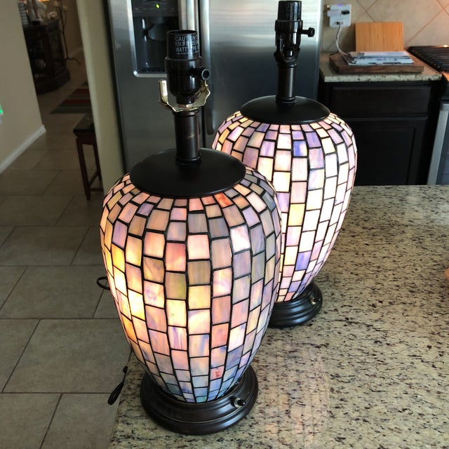 Arts and Crafts Geometric Blue Stained Glass Lamps - a Pair For Sale - Image 10 of 13