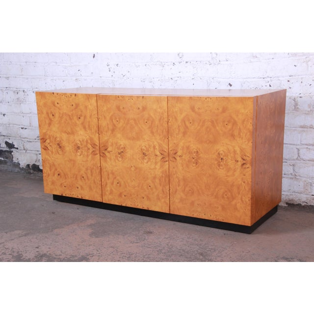 Milo Baughman Burled Olive Wood Sideboard Credenza, Newly Refinished For Sale - Image 11 of 11