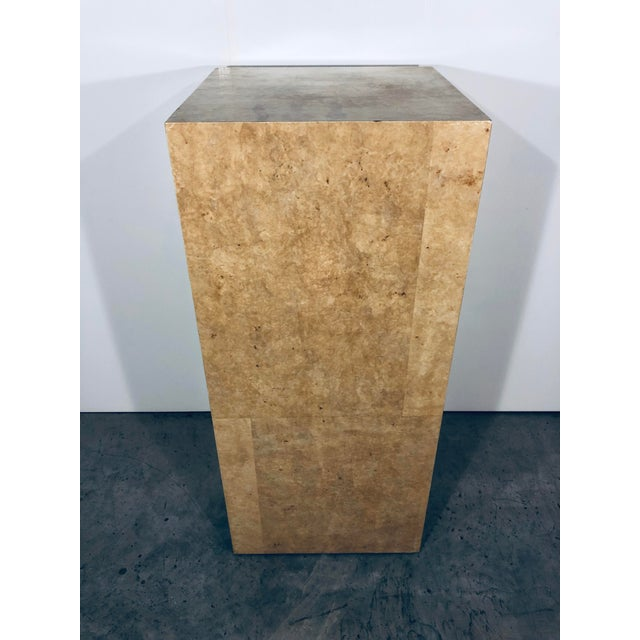 Karl Springer Style Decorative Parchment Display Pedestal For Sale In Miami - Image 6 of 13