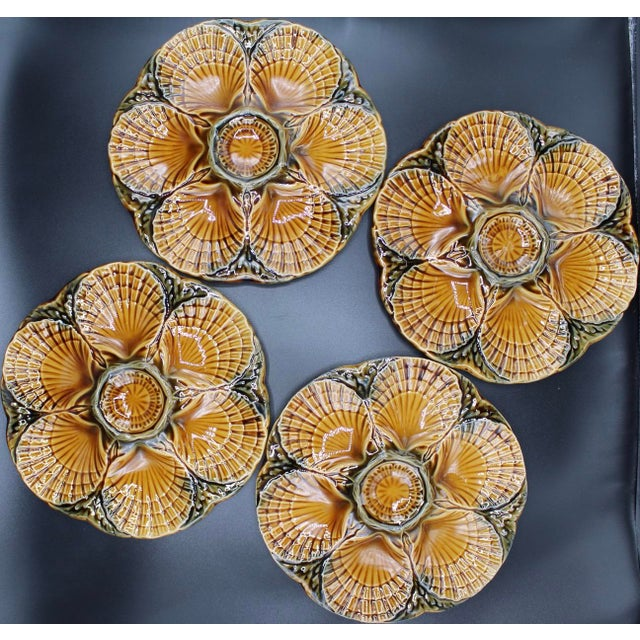 NEW SHIPMENT FROM FRANCE! Mid-Century French Majolica Sarreguemines Oyster Plate Set of Four, circa 1930s. The colors are...