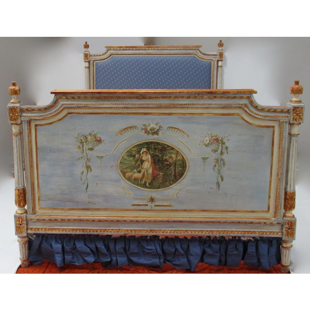 Vintage 19th. Century French Napoleonic Parcel Gilt Painted Full Size Bedframe For Sale - Image 4 of 13