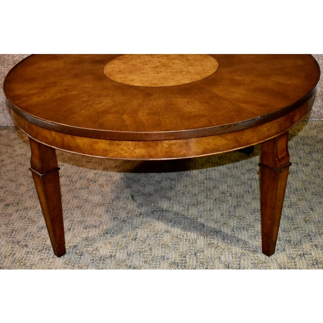 Old Colony Furniture Vintage Old Colony Regency Style Inlaid Lazy Susan Cocktail Table For Sale - Image 4 of 13