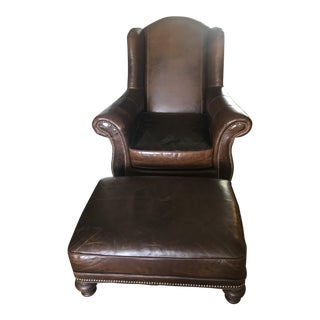 Traditional Hickory Tannery Leather Chair and Ottoman - 2 Piece Set For Sale