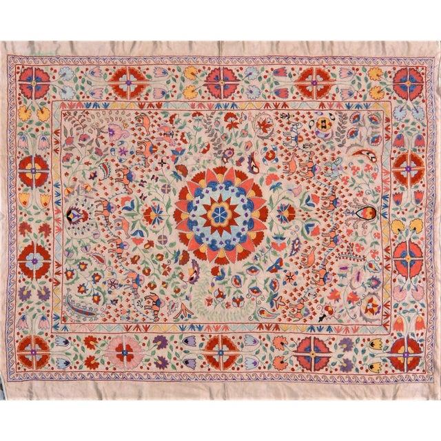 Vintage Turkish Uzbeki Silk on Silk Suzani Ivory Floral Textile- 5'x6'2″ For Sale In New York - Image 6 of 6