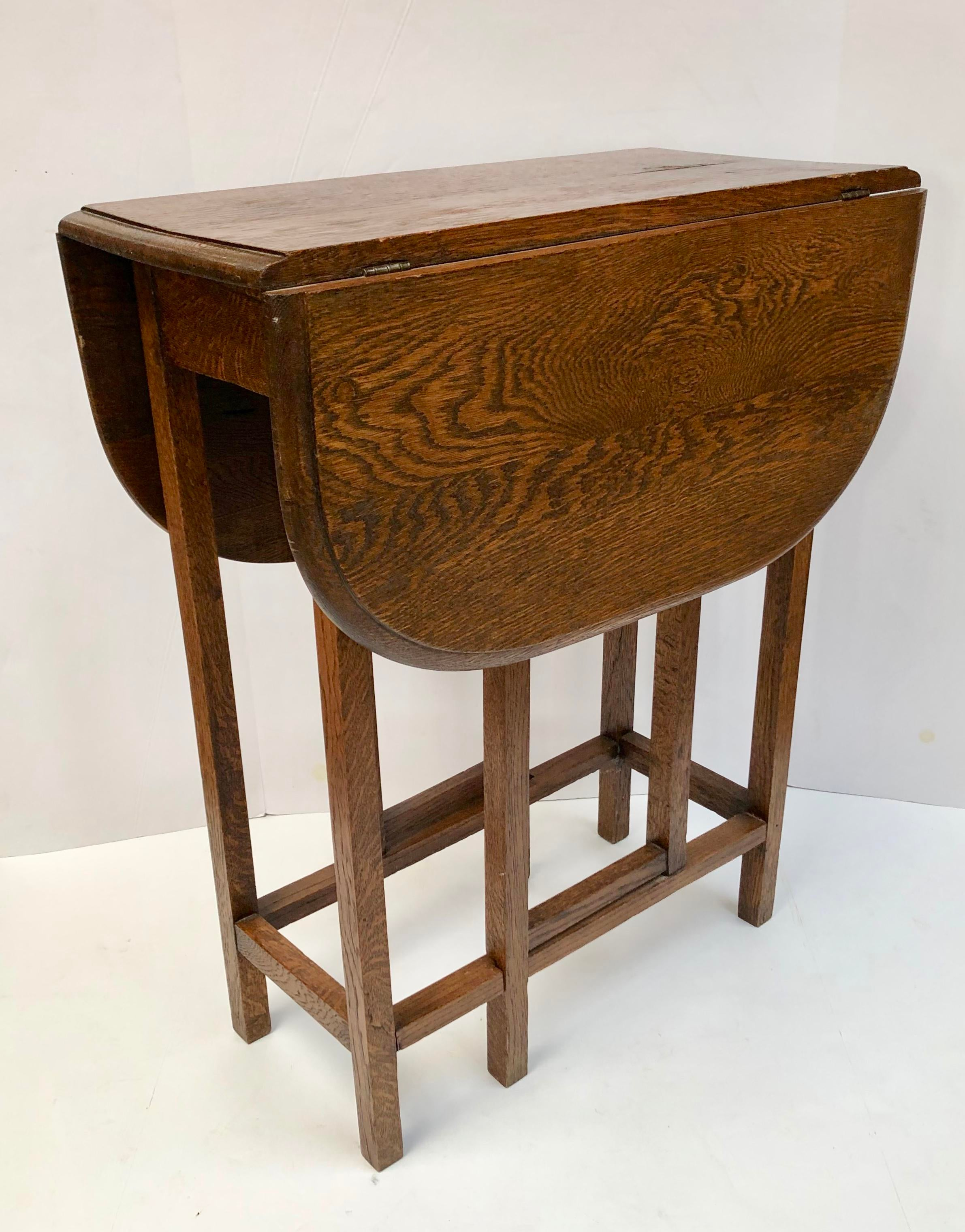 1930s Traditional Oak Drop Leaf Side Table Chairish