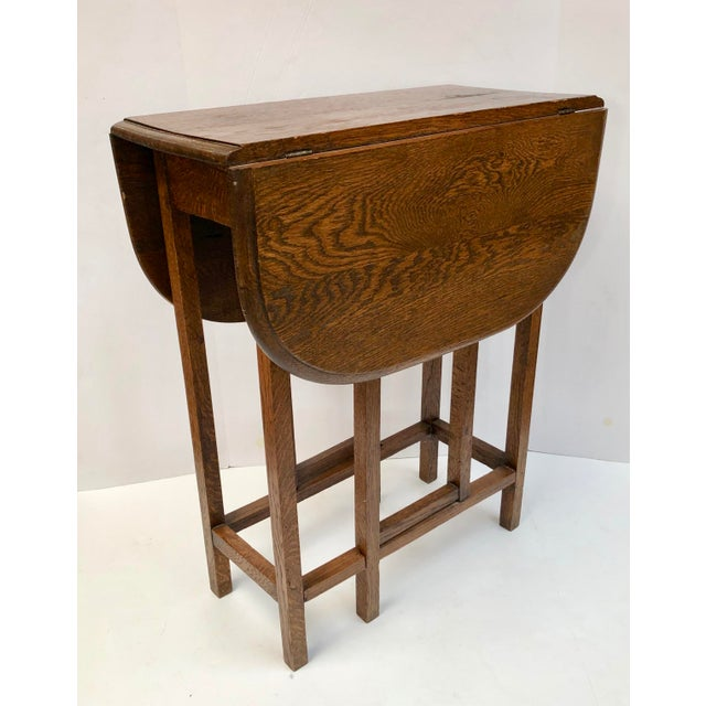 1930s Traditional Oak Drop Leaf Side Table Chairish