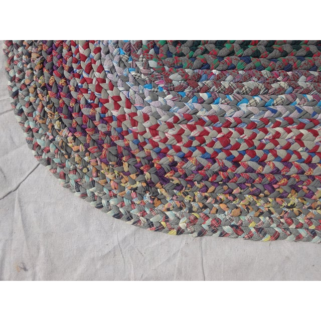 "Boho Chic Swedish Hand Woven Rag Rug - 1'10"" X 3'3"" For Sale - Image 3 of 3"