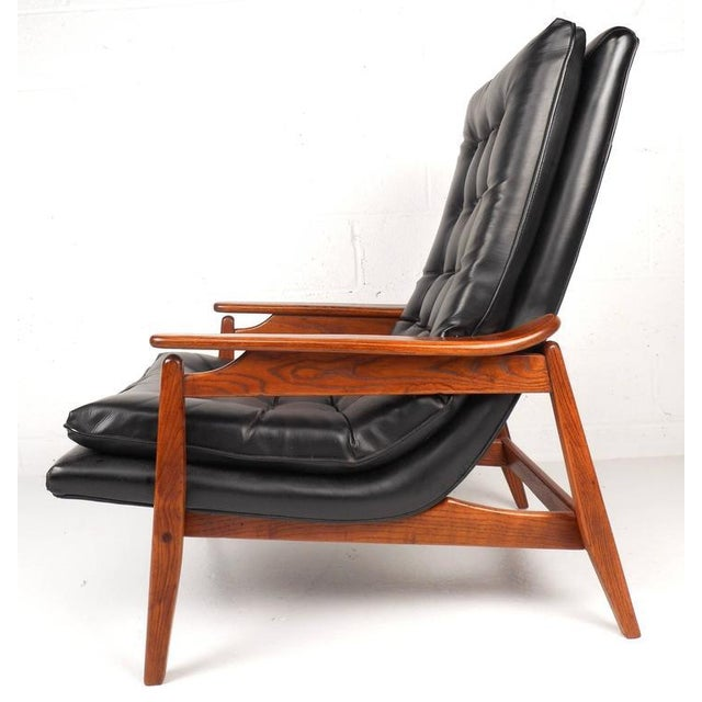 Mid-Century Modern Tufted Vinyl Lounge Chair and Ottoman - Image 3 of 10