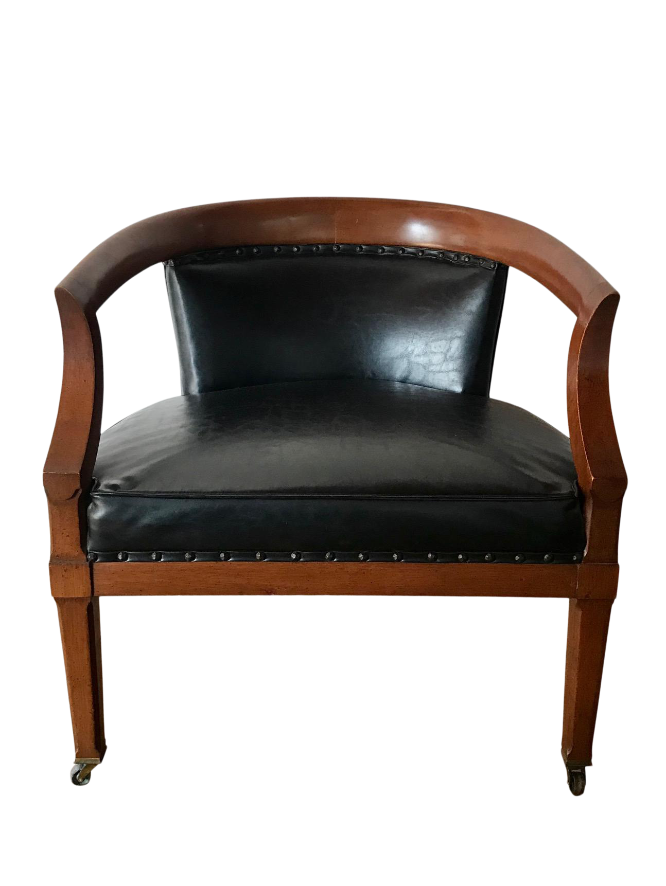 Picture of: Mid Century Modern Leather Barrel Back Club Chair Chairish