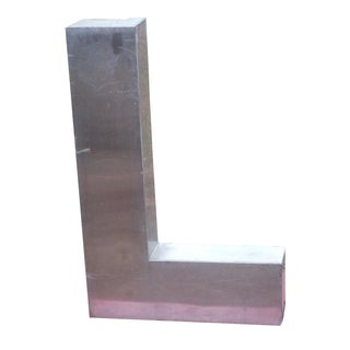 """Antique Industrial Stainless Steel Metal Letter """"L"""""""