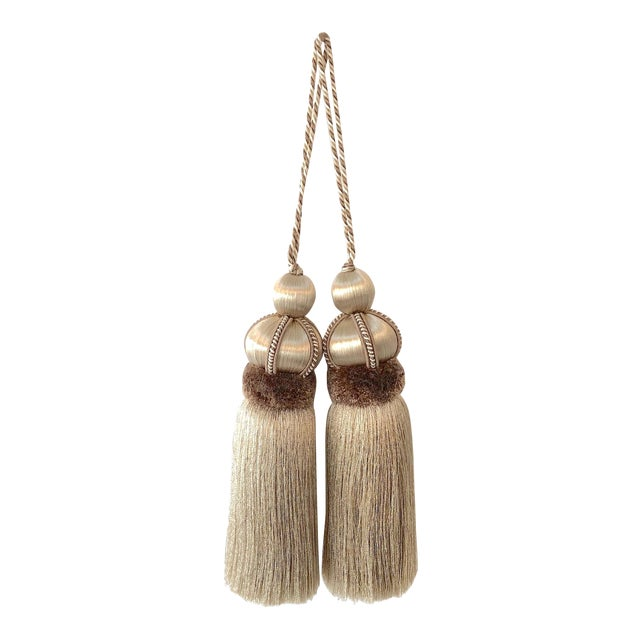 Taupe Key Tassel With Cut Velvet Ruche - a Pair For Sale