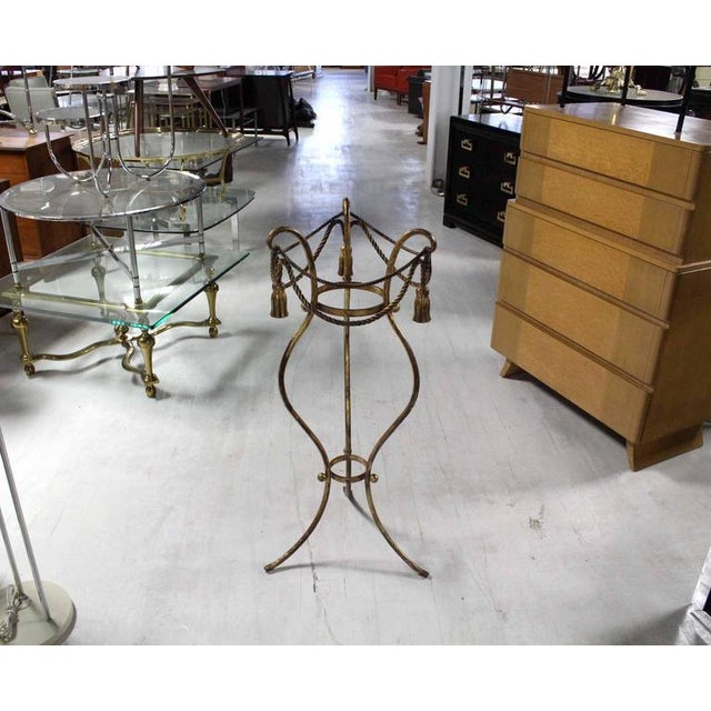 Decorative Midcentury Italian Gilt Metal Rope and Tassel Plant Stand Planter For Sale In New York - Image 6 of 6