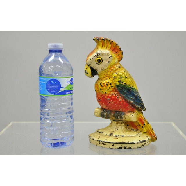 "Antique cast iron hand painted 8"" cockatoo bird figurine doorstop bookend. Item features cast iron construction, very nice..."