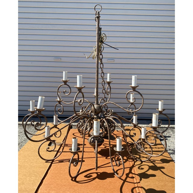 Metal 1950s French 20-Arm Chandelier For Sale - Image 7 of 7