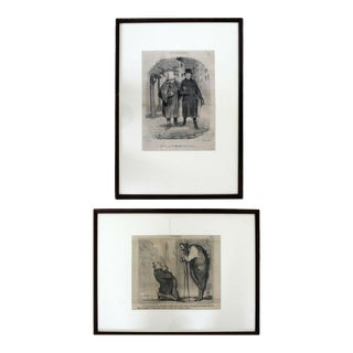 Antique Honore Daumier Framed Etchings 1800s 19th Century - a Pair For Sale