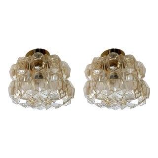 Mid-Century Modern Limburg Glass & Brass Signed Flush Mounts/Sconces - a Pair For Sale