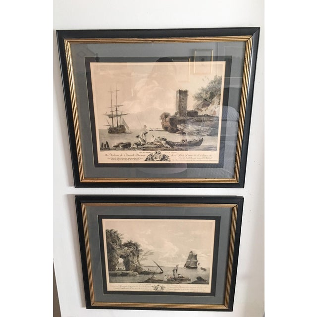 Gold Antique French Nautical Engravings - a Pair For Sale - Image 8 of 12