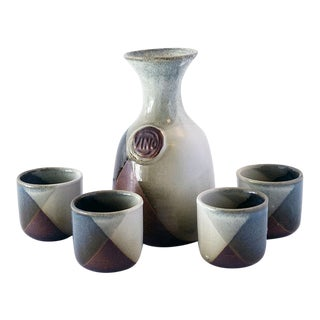 Pottery Craft Decanter Set (5 Pieces) For Sale