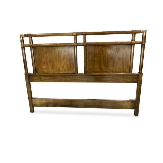 Vintage Walnut and Brass Campaign Headboard by Drexel Queen Size For Sale - Image 9 of 10
