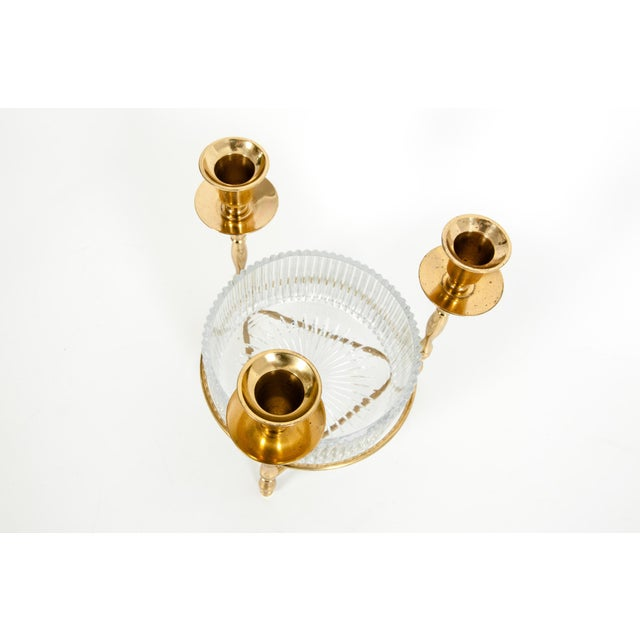 Art Deco Cut Crystal / Gilt Brass Holding Candlestick Decorative Piece For Sale - Image 3 of 13