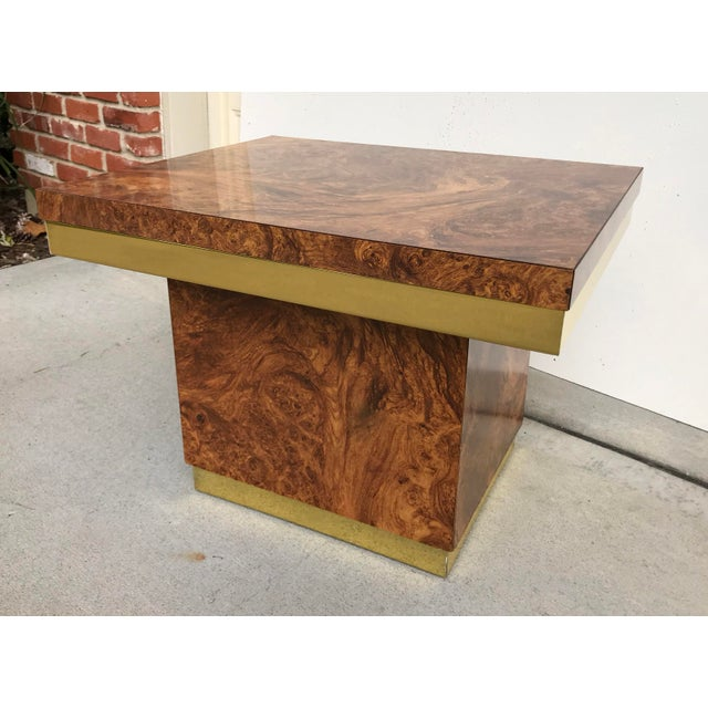 Faux Burl and Brass Accent Table For Sale In Kansas City - Image 6 of 10