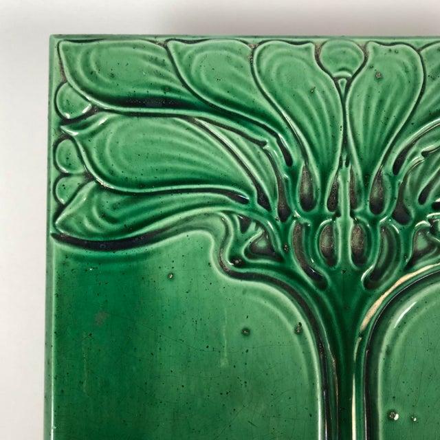 Art Nouveau Art Nouveau Emerald Green Glazed Tree Ceramic Tile For Sale - Image 3 of 11