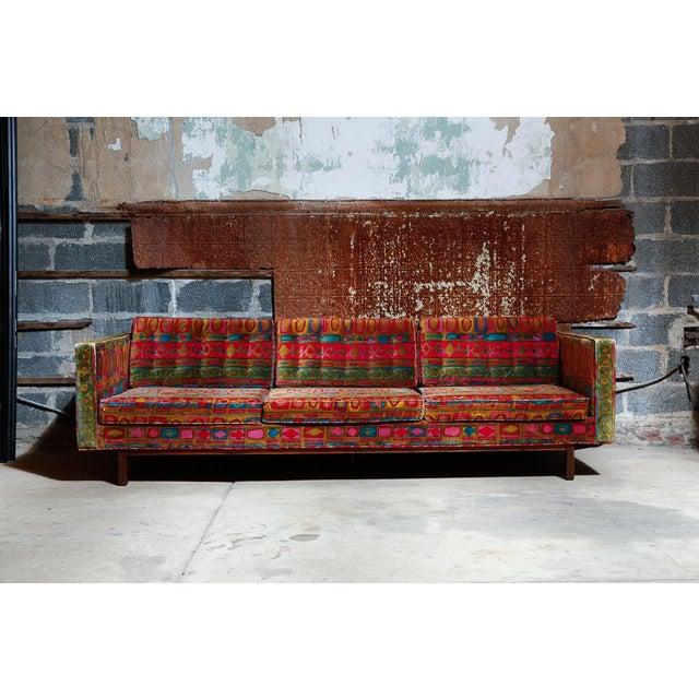 #656A Dunbar sofa, by Edward Wormley. Spectacular sofa with original Jack Lenor Larsen Velvet upholstery, on a walnut base...