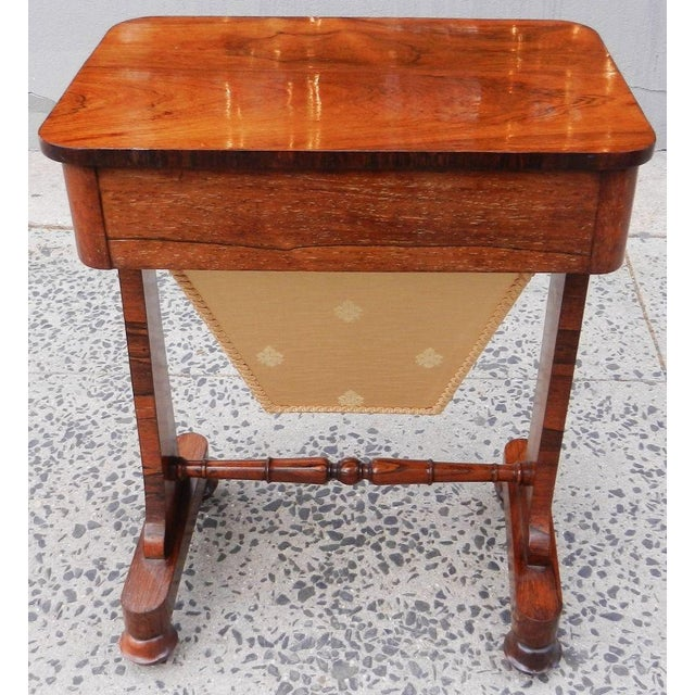 19th Century Antique English Rosewood Regency Basket Sewing Table For Sale In New York - Image 6 of 11