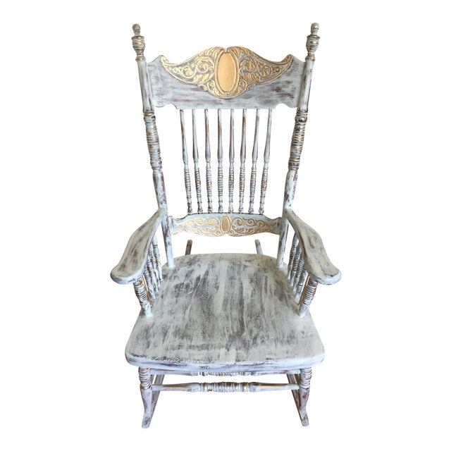 Vintage Hand Painted Rocking Chair For Sale