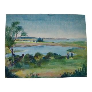Prescott Mike Jones Coastal Bay Landscape Painting, Listed Artist For Sale