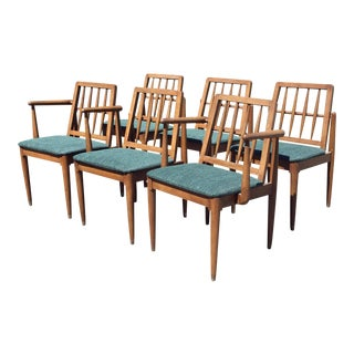 Mid Century Wood Dining Chairs - Set of 6