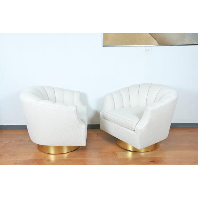 Metal Milo Baughman Attributed Pair of Swivel Chairs For Sale - Image 7 of 13