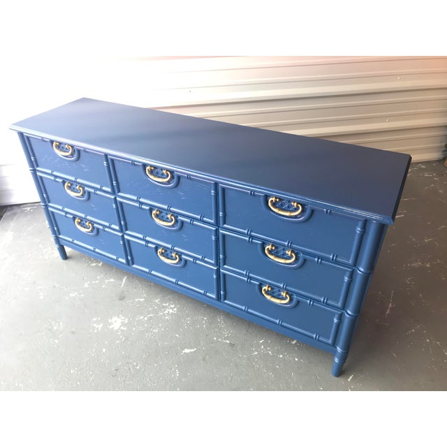 Faux Bamboo Newly Lacquered Blue Dresser For Sale - Image 11 of 12