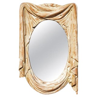 Mid 20th Century Italian Mid-Century Modern Carved Wall Mirror For Sale