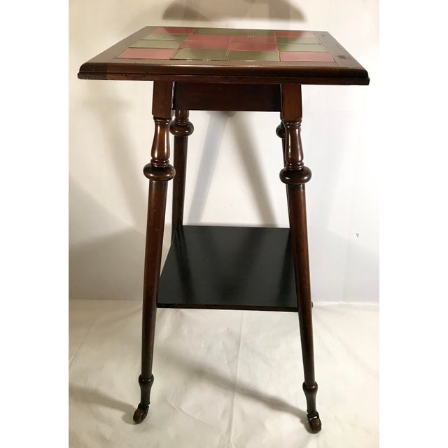 Late 19th Century Antique Tile Top Pub Table For Sale - Image 5 of 11
