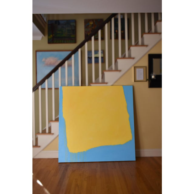 "Yellow Stephen Remick ""Crossing Borders"" Large Contemporary Abstract Painting For Sale - Image 8 of 10"