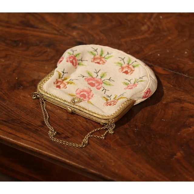 French 19th Century French Needlepoint Purse With Brass Strap and Lock For Sale - Image 3 of 6