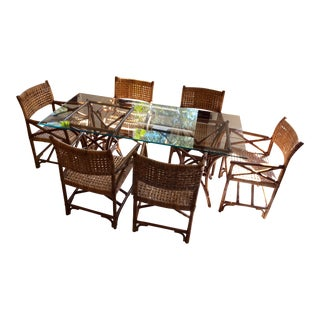 Leather Strapped Rattan Dining Set For Sale