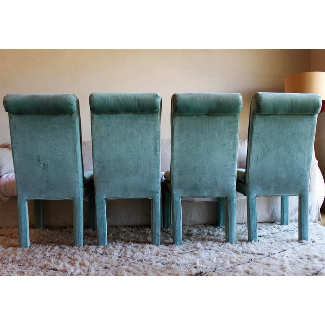 Anglo-Indian 1970s Mid Century Modern Tufted Teal Green Velvet Parsons Dining Chairs Milo Baughman Style - Set of 4 For Sale - Image 3 of 13
