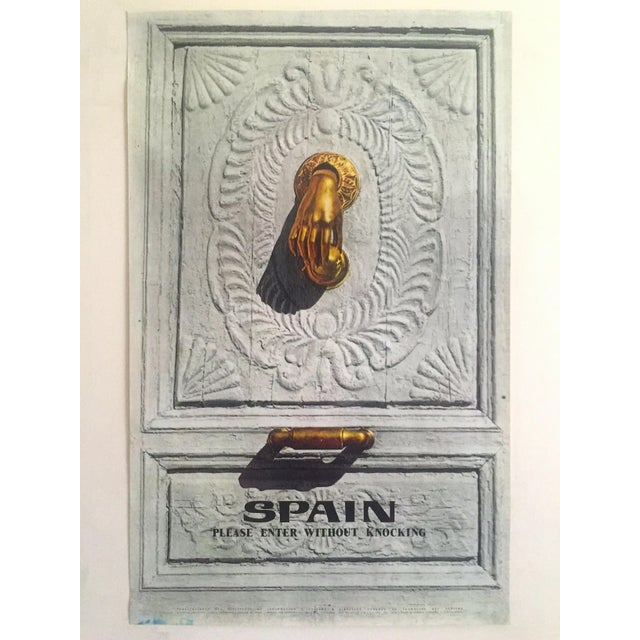 """Vintage Mid Century Rare """" Please Enter Without Knocking """" Collector's Spain Travel Poster For Sale - Image 12 of 13"""