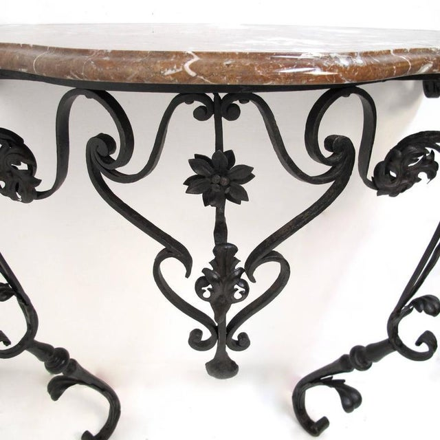 19th Century French Wrought Iron and Marble Console Table - Image 3 of 8