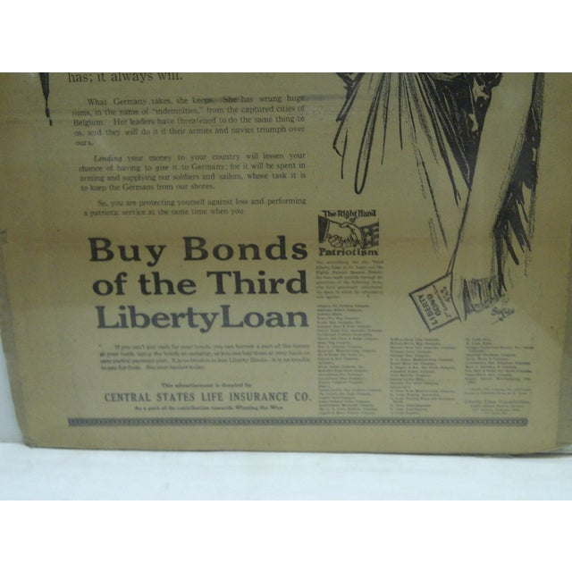 Vintage World War I War Bond Advertisement Newspaper Poster For Sale - Image 4 of 4
