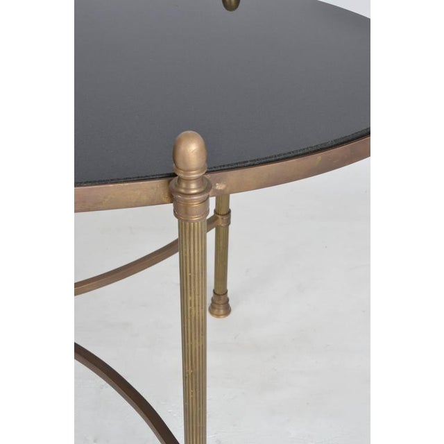 Brass Neoclassical Style Brass and Black Granite Cocktail Table For Sale - Image 7 of 9