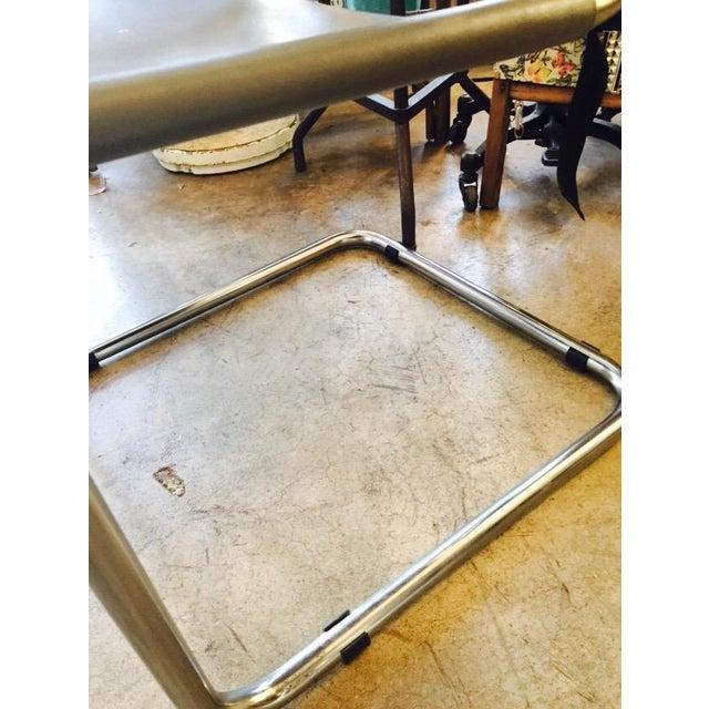 Italian Smoky Grey Leather Sling Chrome Chair - Image 8 of 10
