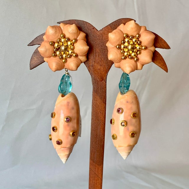 Contemporary Pink Olive Shell, Apatite Earrings For Sale - Image 3 of 3