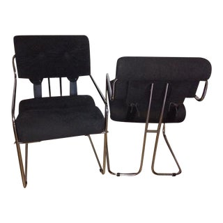 Italian Mid Century Faleschini Pace Suede Chairs - A Pair