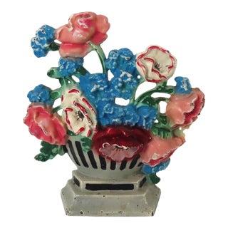 1930s Hubley Cast Iron Doorstop Cornflowers & Poppies For Sale